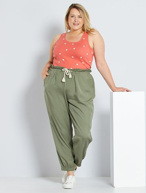 Pantaloni in lyocell                                         verde licheno