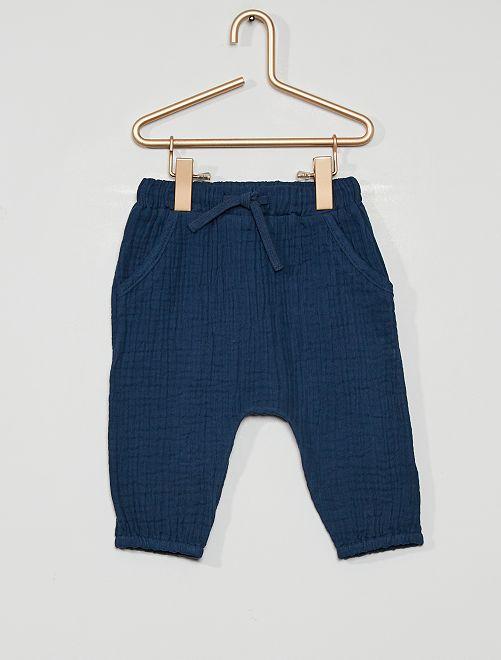 Pantaloni in panno eco-sostenibile                                                     blu