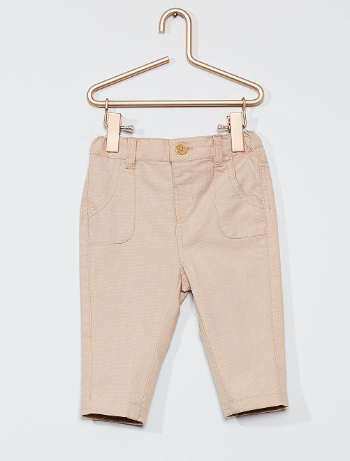 Pantaloni in piqué di cotone                             beige chiaro