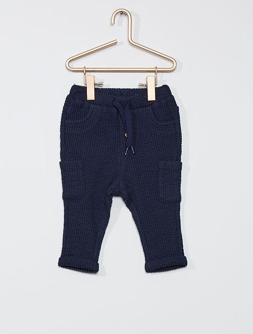 Pantaloni in tessuto felpato                                                     blu