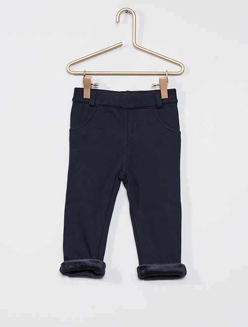 Pantaloni in tessuto felpato caldo                                                     blu