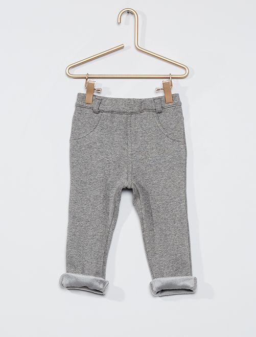 Pantaloni in tessuto felpato caldo                                                     GRIGIO