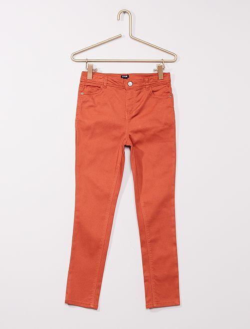 Pantaloni in twill per bambino di corporatura robusta                                                                             ARANCIONE