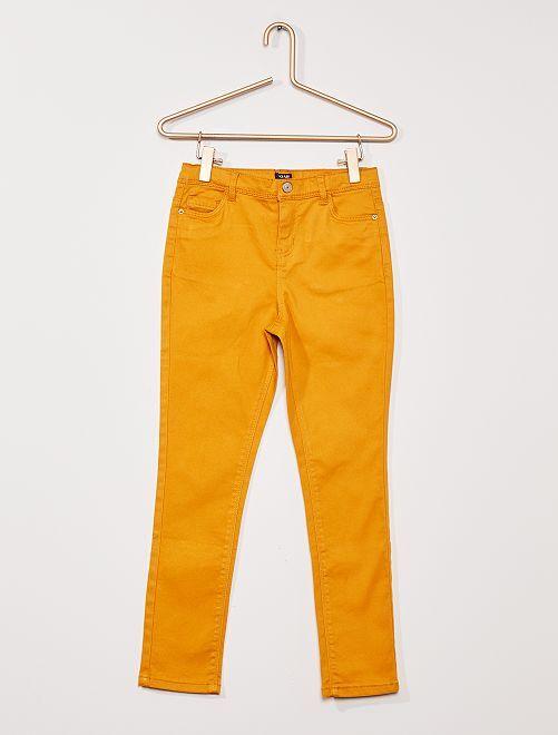 Pantaloni in twill per bambino di corporatura robusta                                                                             GIALLO