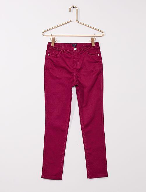 Pantaloni in twill per bambino di corporatura robusta                                                                             prugna