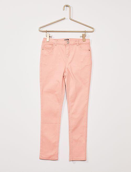 Pantaloni in twill per bambino di corporatura robusta                                                                             ROSA