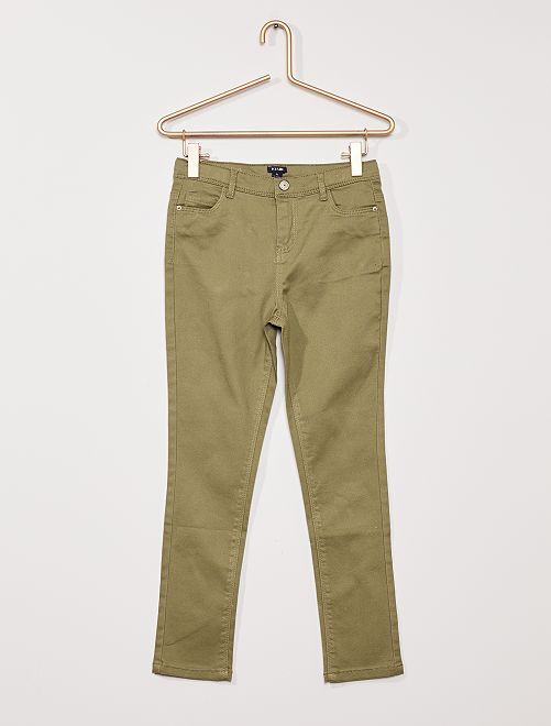Pantaloni in twill per bambino di corporatura robusta                     verde licheno
