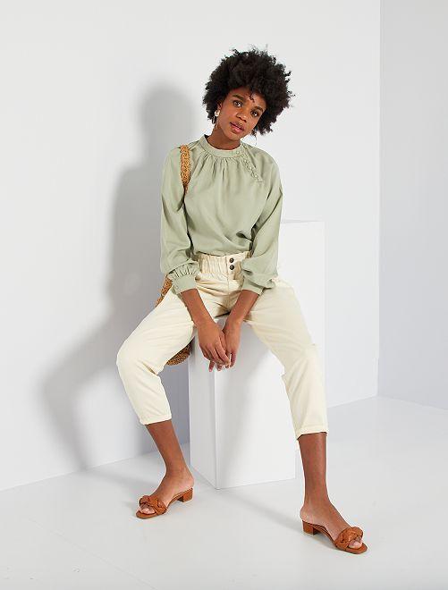 Pantaloni in twill stile paperbag                                                                                         BIANCO
