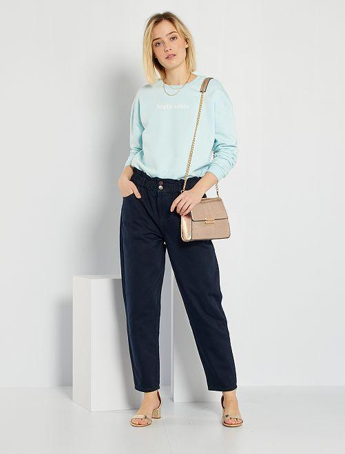 Pantaloni in twill stile paperbag                                                                                         blu