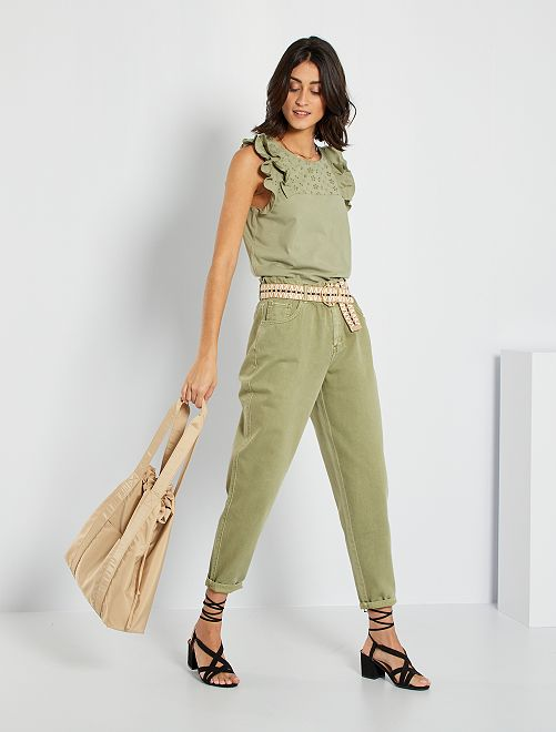 Pantaloni in twill stile paperbag                                                                                         kaki chiaro