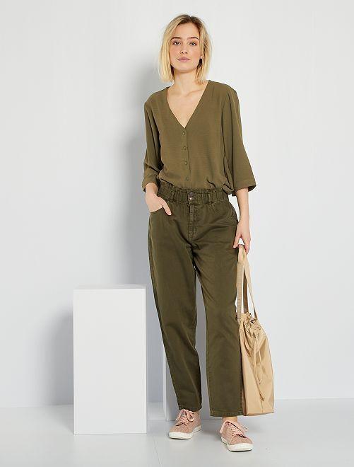 Pantaloni in twill stile paperbag                                                                             KAKI