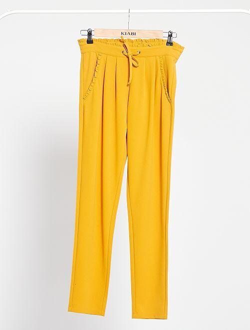 Pantaloni 'JDY' con dettagli arricciati                             GIALLO
