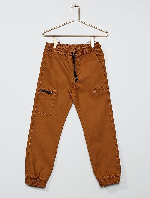 Pantaloni jogger regular tasca con zip                             marrone caffé