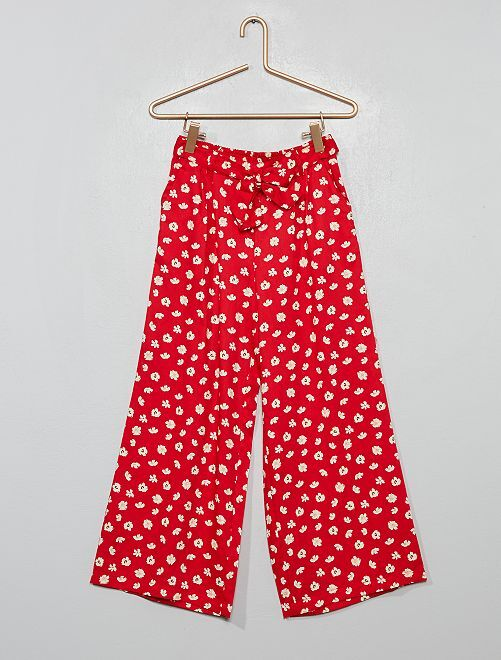 Pantaloni larghi a fiori                                         ROSSO