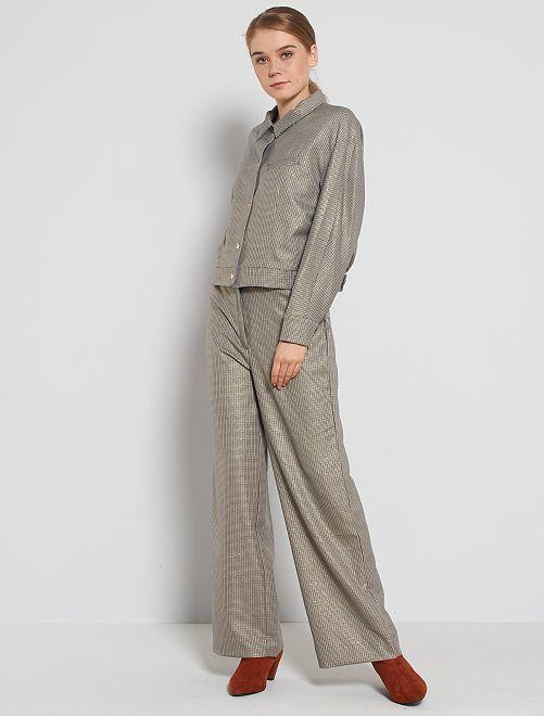 Pantaloni larghi a quadri                             BLU