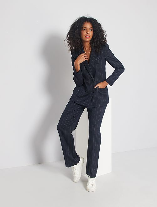 Pantaloni larghi a righe                             BLU