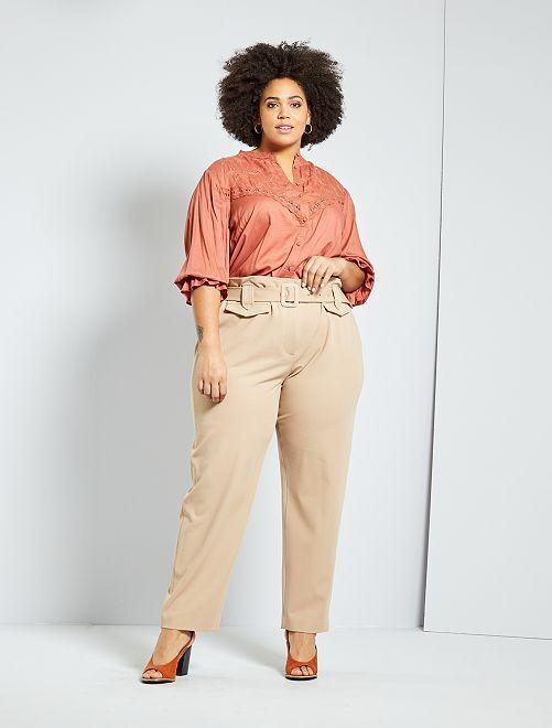 Pantaloni larghi con cintura                                         BEIGE
