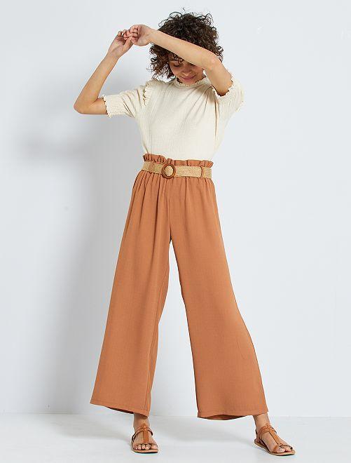 Pantaloni larghi con cintura in paglia                             ARANCIONE