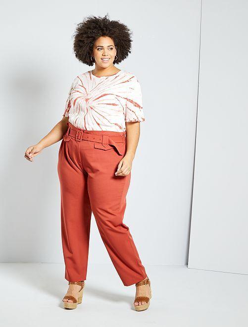 Pantaloni larghi con cintura                                         ROSSO