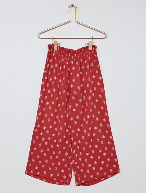 Pantaloni larghi con dettaglio a punto smock                                         ROSA