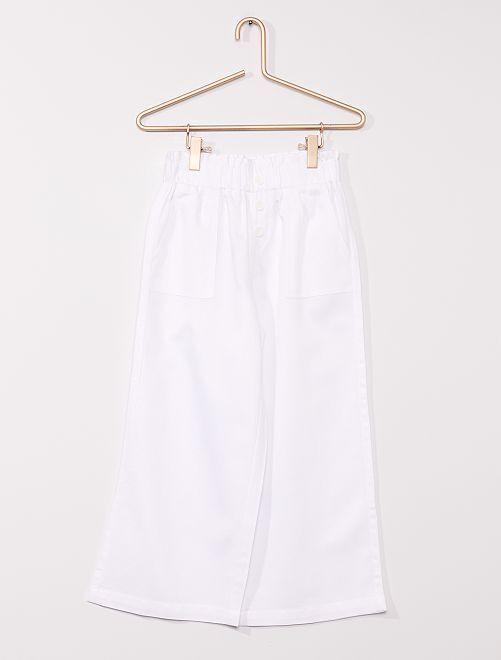 Pantaloni larghi con lino                                                     BIANCO
