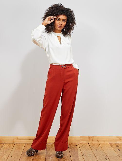 Pantaloni larghi con risvolto                                         ARANCIONE