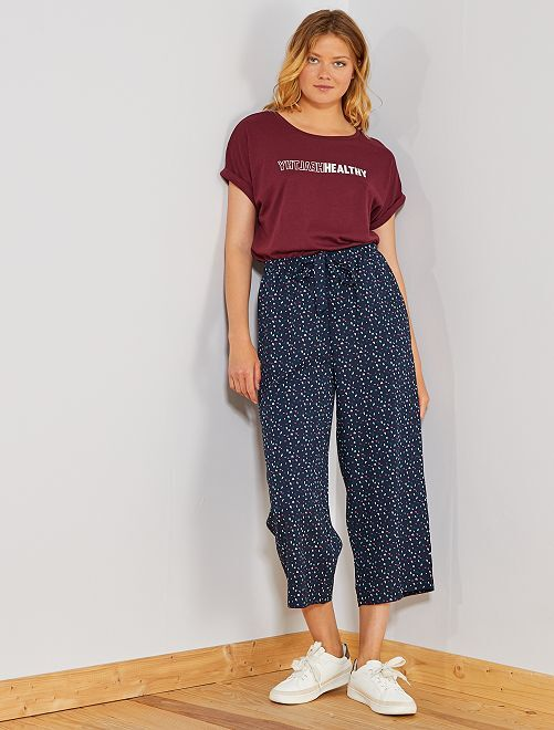 Pantaloni larghi fluidi 7/8                                                                             BLU Donna