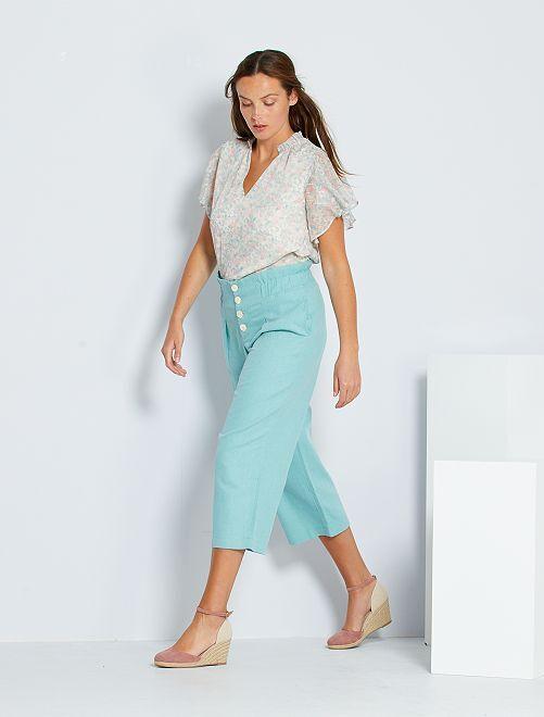 Pantaloni larghi in cotone e lino                                         grigio verde