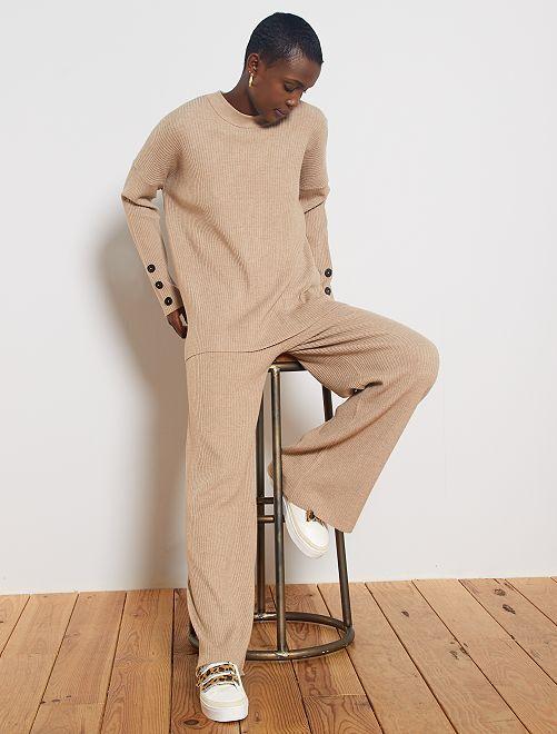 Pantaloni larghi maglia a coste                             BEIGE