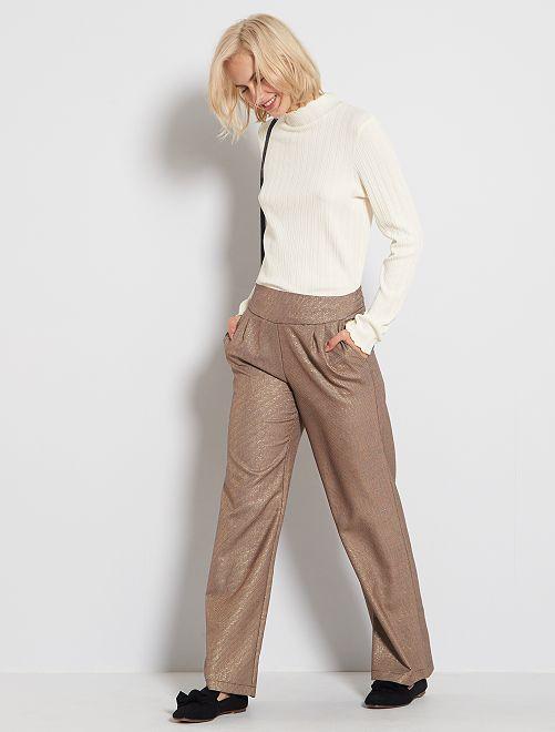 Pantaloni larghi micro motivi                             MARRONE