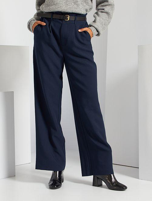 Pantaloni larghi morbidi vita alta                             BLU