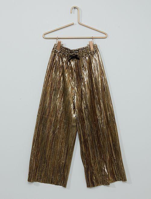 Pantaloni larghi plissettati                                         dorato
