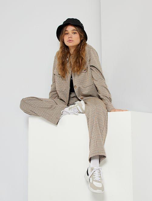 Pantaloni larghi stampati pied-de-poule                             MARRONE