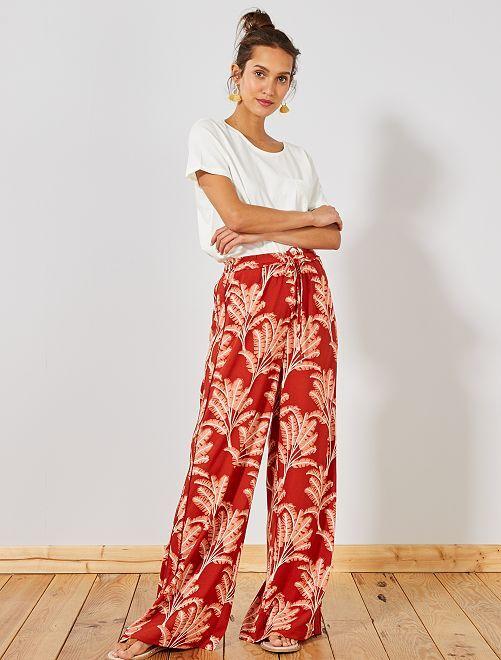 Pantaloni larghi strisce sui lati                                         ARANCIONE Donna