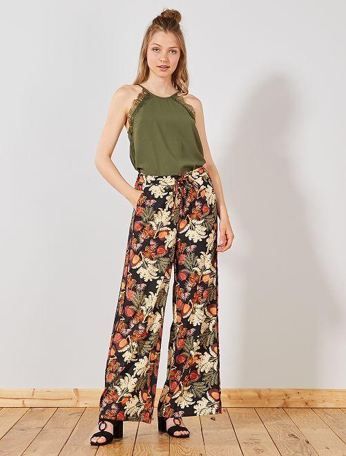 Pantaloni larghi strisce sui lati                                         NERO Donna