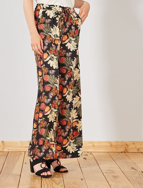 bf2a96004e52 Pantaloni larghi strisce sui lati Donna - NERO - Kiabi - 18,00€