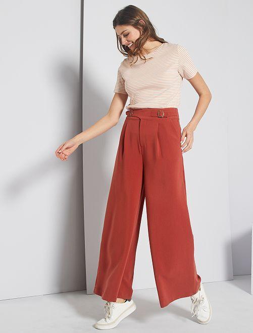 Pantaloni larghi vita alta                                 ROSSO