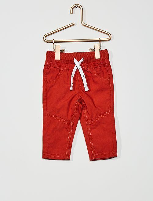 Pantaloni leggeri in popeline                                                                             ARANCIONE