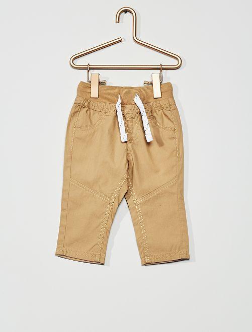 Pantaloni leggeri in popeline                                             BEIGE