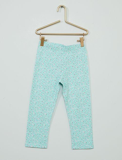 Pantaloni leggings corti in misto cotone                                                         BLU