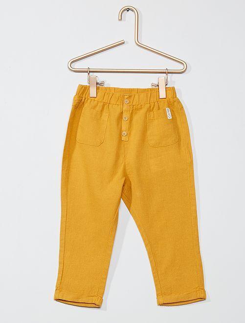 Pantaloni lino e cotone                             GIALLO