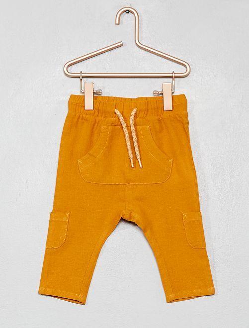 Pantaloni lino e cotone multitasche                                                     GIALLO Neonato