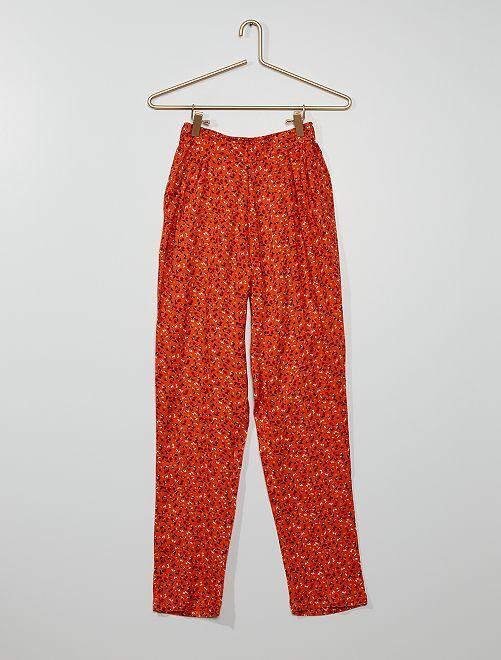 Pantaloni morbidi floreali                             ARANCIONE