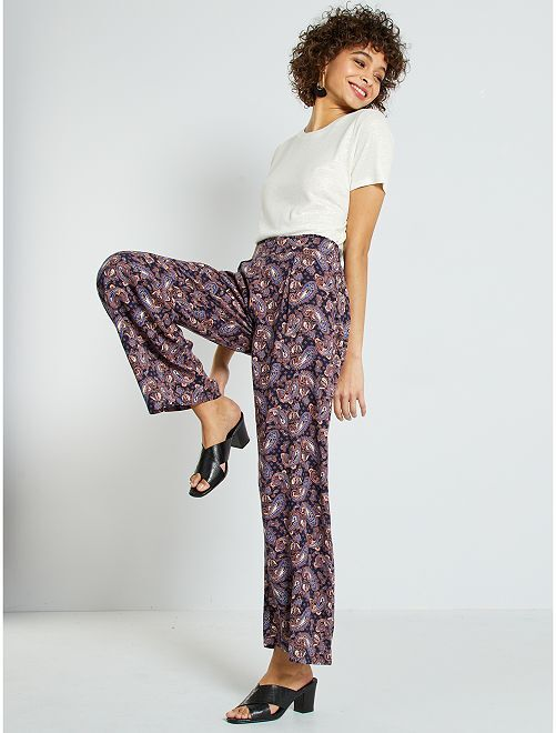 Pantaloni morbidi stampa cachemire                             ROSA