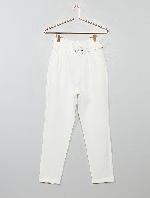 Pantaloni 'paper-bag'                                                                 bianco neve