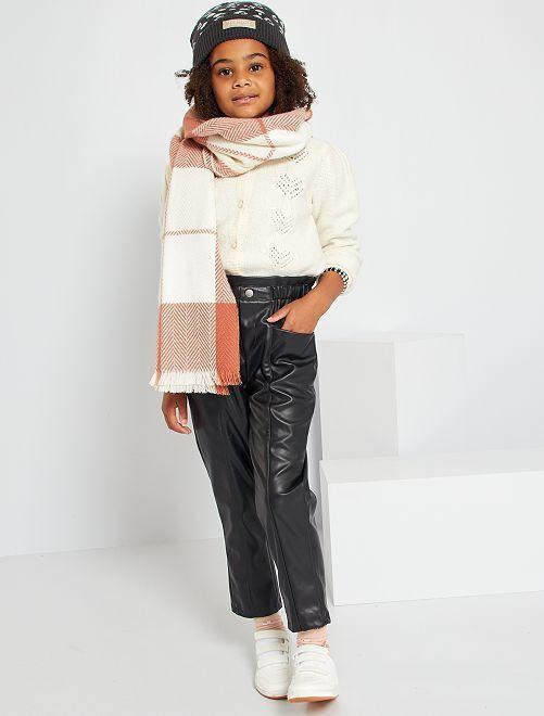 Pantaloni paper bag in similpelle                             nero
