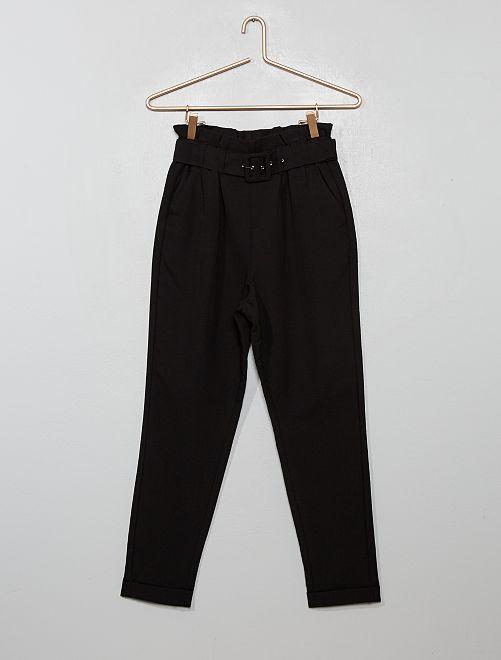 Pantaloni 'paper-bag'                                                                 nero