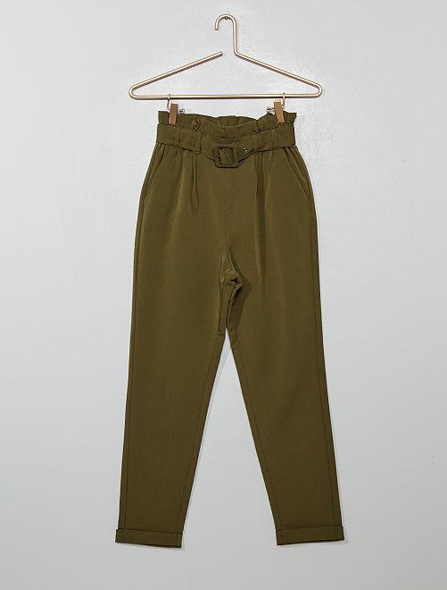 Pantaloni 'paper-bag'                                                                 verde scuro