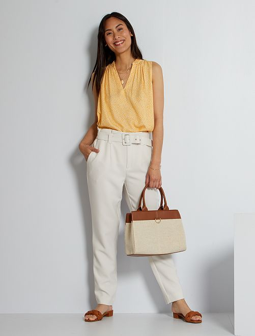 Pantaloni paperbag                                                                                         bianco calcare