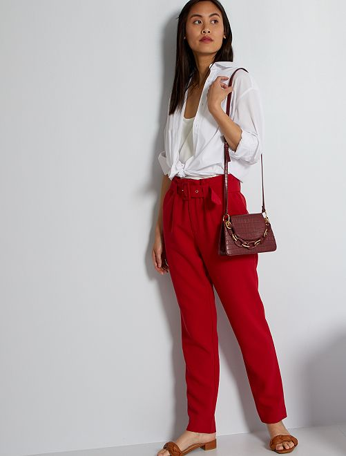 Pantaloni paperbag                                                                                         rosso